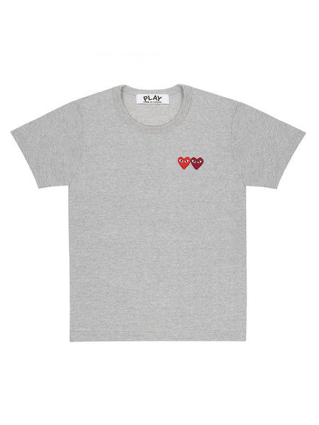 double red heart grey tee