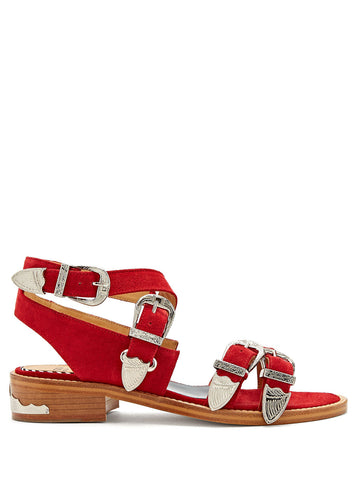 Red Suede buckled sandals Toga Pulla