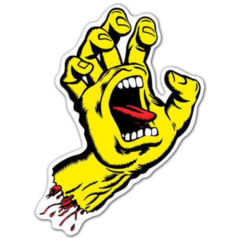 SANTA CRUZ SCREAMING HAND STICKER YELLOW