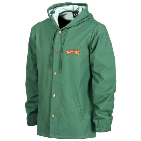 THRASHER FLAME LOGO COACH JACKET FOREST GREEN