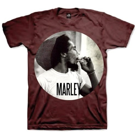 BOB MARLEY SMOKIN CIRCLE T-SHIRT BURGUNDY - Skateboards Amsterdam