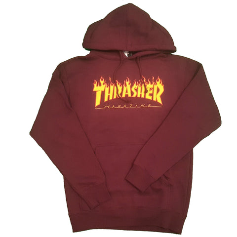 THRASHER FLAME HOODED SWEATER MAROON