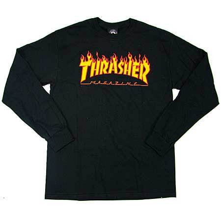 THRASHER FLAME LONG SLEEVE BLACK - Skateboards Amsterdam
