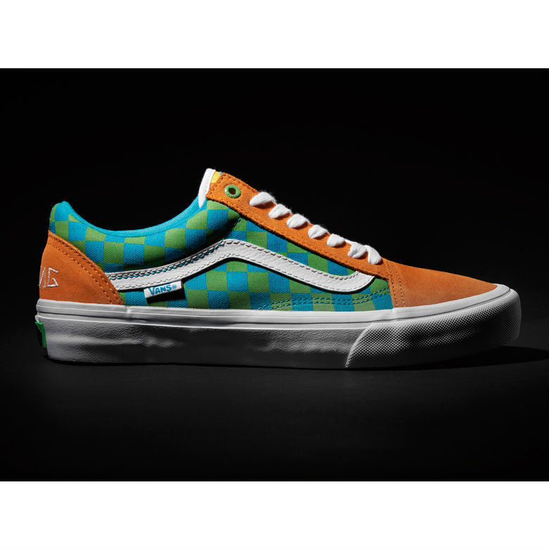 01fe393a8e3d24 VANS OLD SKOOL PRO (GOLF WANG)ORANGE BLUE GREEN – Skateboards Amsterdam