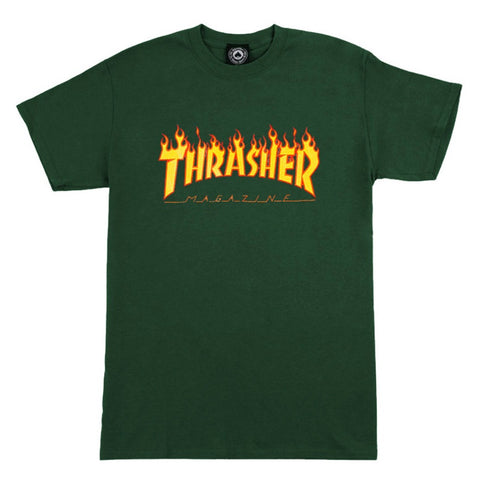 THRASHER FLAME T-SHIRT FOREST GREEN