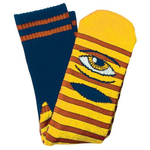 TOY MACHINE SECT EYE STRIPE SOCK YELLOW/NAVY