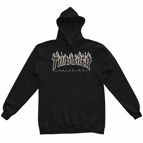 THRASHER FLAME HOODED SWEATER BLACK/BLACK