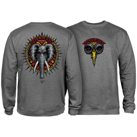 POWELL PERALTA VALLELY ELEPHANT CREWNECK GUNMETAL HEATHER