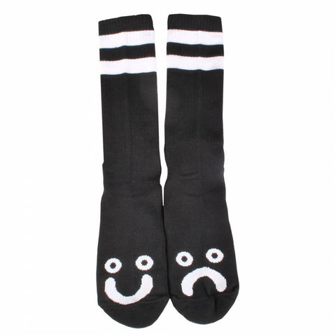 POLAR HAPPY SAD SOCKS BLACK/WHITE - Skateboards Amsterdam