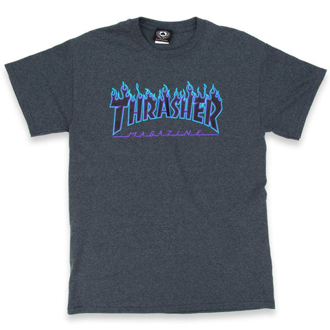 THRASHER FLAME T-SHIRT DARK HEATHER - Skateboards Amsterdam