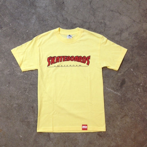 SKATEBOARDS AMSTERDAM T-SHIRT THRASH LOGO RED ON YELLOW - Skateboards Amsterdam