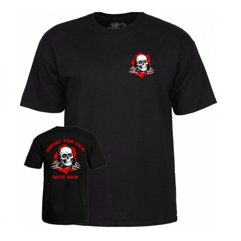POWELL PERALTA SUPPORT YOUR LOCAL SKATE SHOP RIPPER T-SHIRT BLACK