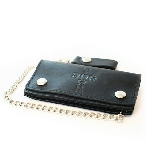 DOGTOWN PREMIUM LEATHER CHAIN WALLET BLACK