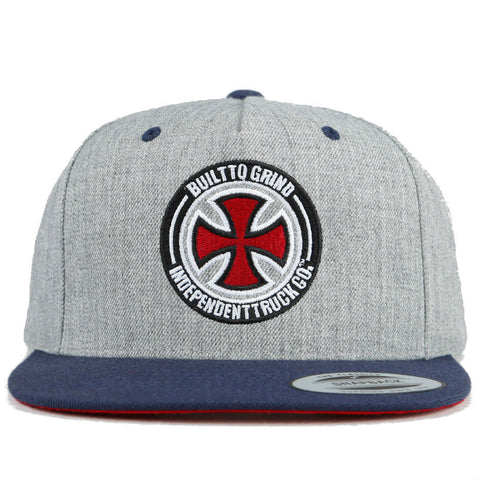 INDEPENDENT BTG CROSS SNAPBACK HEATHER GREY/INDIGO - Skateboards Amsterdam - 1
