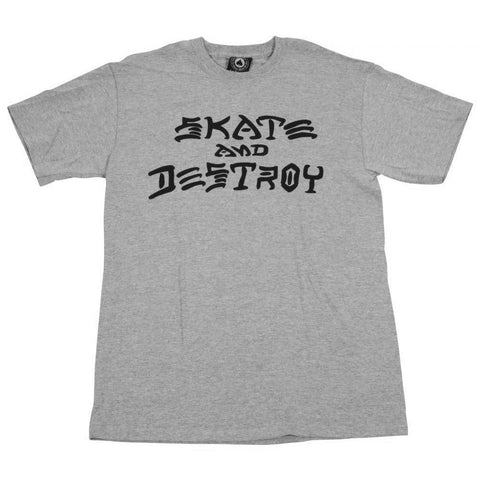 THRASHER SKATE AND DESTROY T-SHIRT GREY HEATHER - Skateboards Amsterdam