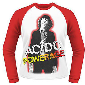 AC/DC POWERAGE LONG SLEEVE BASEBALL SHIRT WHITE/RED - Skateboards Amsterdam