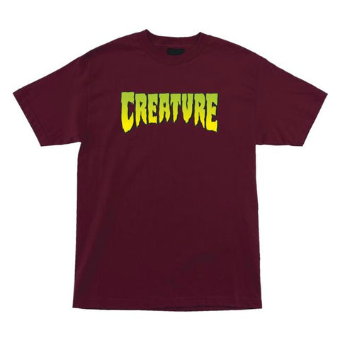 CREATURE GREEN LOGO T-SHIRT BURGUNDY