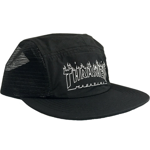 THRASHER FLAME OUTLINE 5 PANEL BLACK
