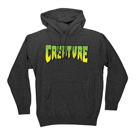 CREATURE LOGO HOODED SWEATER HEATHER GREY - Skateboards Amsterdam