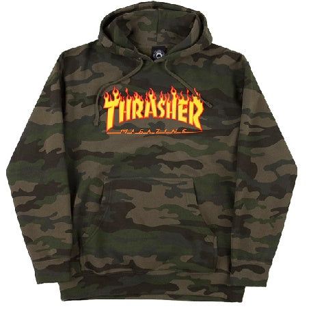 THRASHER FLAME HOODED SWEATER FOREST CAMO