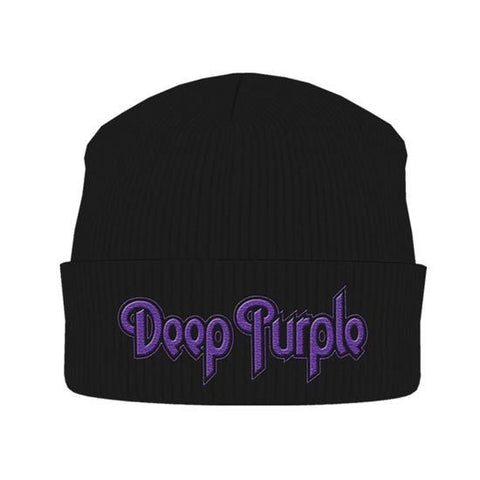DEEP PURPLE BLACK LOGO BEANIE - Skateboards Amsterdam