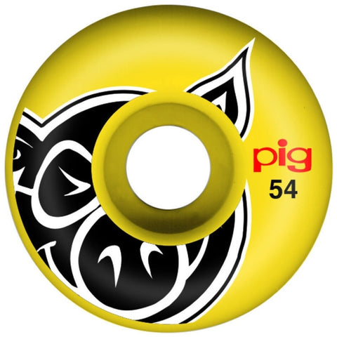 PIG HEAD YELLOW 54MM - Skateboards Amsterdam