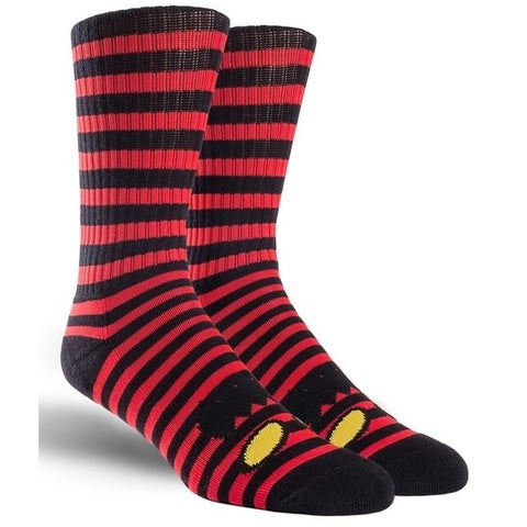 TOY MACHINE MONSTER FACE MINI STRIPES CREW SOCK RED