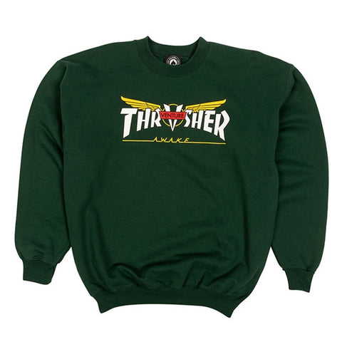 THRASHER VENTURE COLLAB CREWNECK SWEATER FOREST GREEN