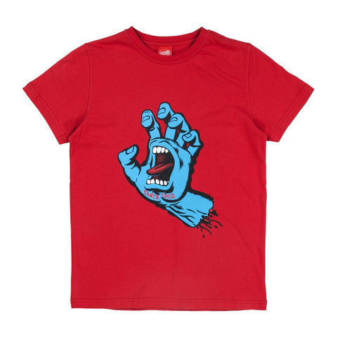 SANTA CRUZ SCREAMING HAND YOUTH T-SHIRT DEEP RED