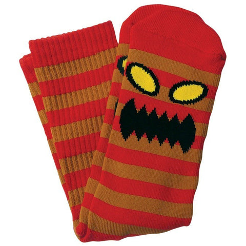 TOY MACHINE MONSTER STRIPE SOCK RED/BROWN - Skateboards Amsterdam