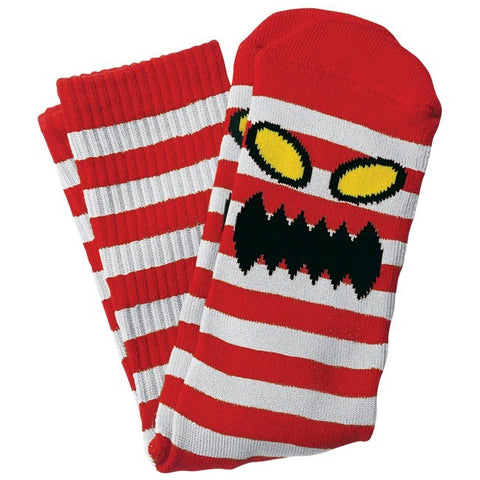 TOY MACHINE MONSTER STRIPE SOCK RED/WHITE - Skateboards Amsterdam - 1
