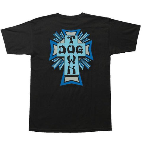 DOGTOWN CROSS COLOR LOGO T-SHIRT BLACK