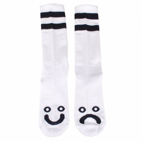 POLAR HAPPY SAD SOCKS WHITE - Skateboards Amsterdam