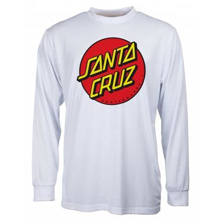 SANTA CRUZ OG CLASSIC DOT LONG SLEEVE WHITE