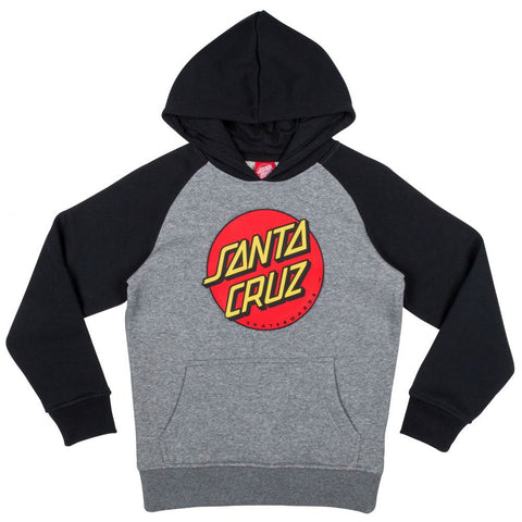 SANTA CRUZ CLASSIC DOT YOUTH HOODED SWEATER BLACK/DARK HEATHER