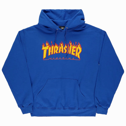 THRASHER FLAME HOODED SWEATER ROYAL