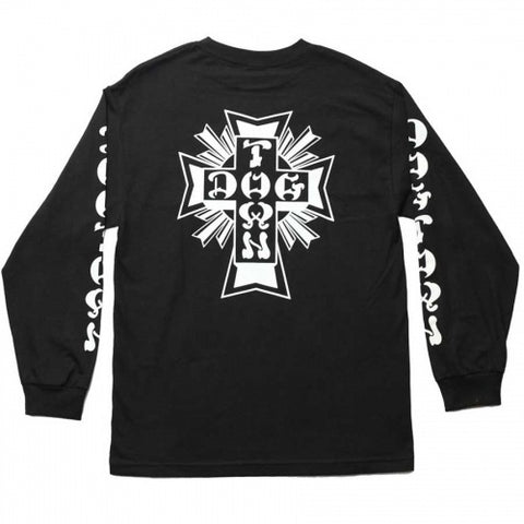 DOGTOWN CROSS LOGO LONG SLEEVE T-SHIRT BLACK