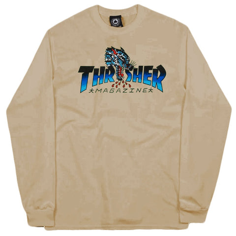 THRASHER LEOPARD MAG LONG SLEEVE SAND