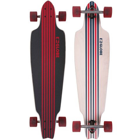 "GLOBE PROWLER 38.5"" COMPLETE WHITE/BLUE/RED - Skateboards Amsterdam"