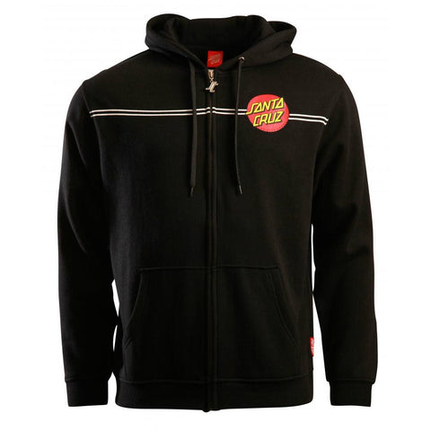 SANTA CRUZ CLASSIC DOT HOODED ZIPPER BLACK