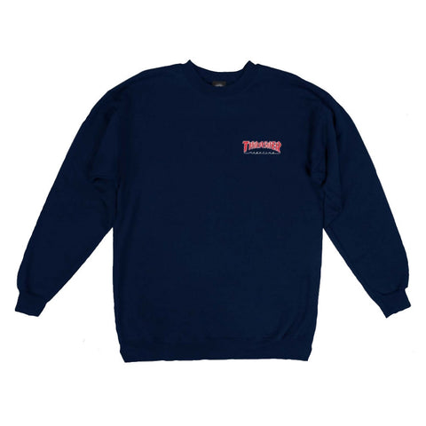 THRASHER EMBROIDERED OUTLINED CREWNECK NAVY