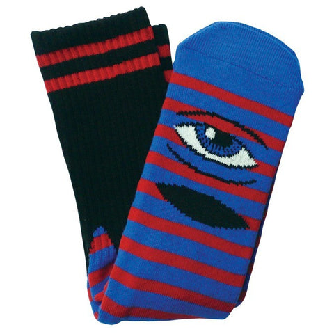 TOY MACHINE SECT EYE STRIPE SOCK BLUE/RED - Skateboards Amsterdam
