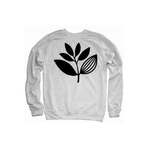 MAGENTA PLANT CREWNECK HEATHER GREY