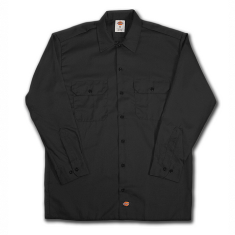 DICKIES 574 LONG SLEEVE WORK SHIRT BLACK - Skateboards Amsterdam