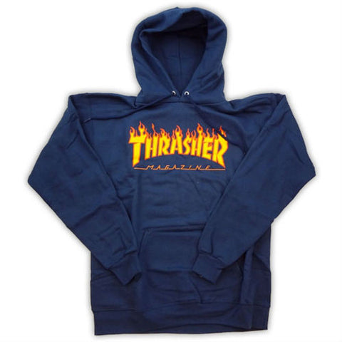 THRASHER FLAME HOODED SWEATER NAVY - Skateboards Amsterdam