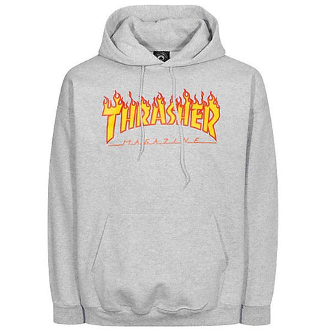 THRASHER FLAME HOODED SWEATER GREY - Skateboards Amsterdam