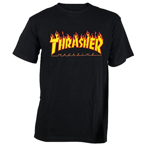 THRASHER FLAME T-SHIRT BLACK - Skateboards Amsterdam