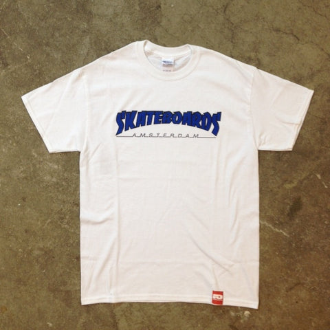 SKATEBOARDS AMSTERDAM T-SHIRT THRASH LOGO BLUE ON WHITE - Skateboards Amsterdam