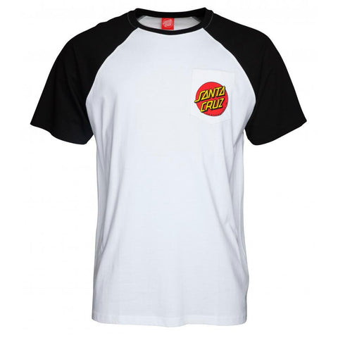 SANTA CRUZ CUT AND SEW DOT POCKET RAGLAN BLACK/WHITE
