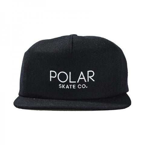 POLAR DEFAULT CAP BLACK W/WHITE EMBROIDERY - Skateboards Amsterdam